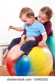 Kids have a fun with the gymnastic ball