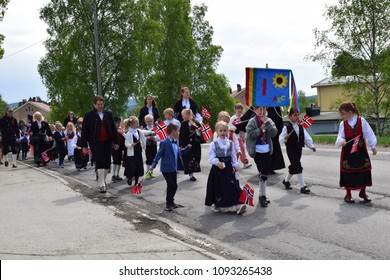 Kids having fun - Celebration of the Constitution day - 17 may - traidtional clothes and bunad - Kongsvinger, Norway (17th May 2018)
