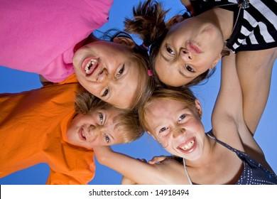 Kids having fun on a sunny summer day