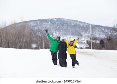 kids having fun in ski resort. children enjoy sledding from the mountain
