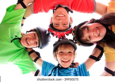 Kids with helmets and pads