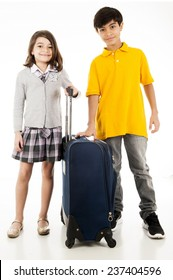 Kids holding a bag over white background .
