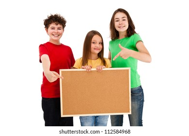 Kids holding blank noticeboard isolated on white background