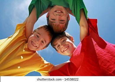 Kids Huddling on a Beautiful Day