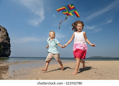 Kids Kite Beach Playing Summer Cheerful Fun Concept