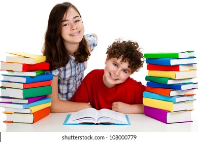 Kids learning isolated on white background