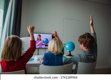 Kids learning remotely. Children having online lesson at home