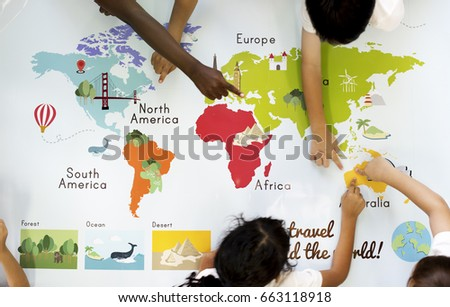 World Map Continents With Countries.Kids Learning World Map Continents Countries Stock Photo Edit Now