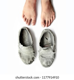 kids legs and Old school shoes . isolated in white..