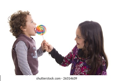 kids with lollipop on a white background