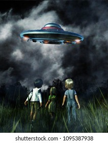 Kids looking to a UFO saucer on the sky at night,3d illustration