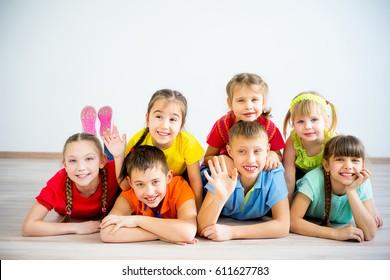 Kids lying on floor