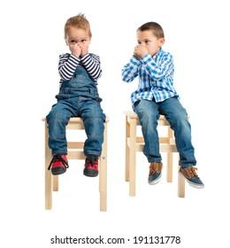 Kids making odor gesture over white background