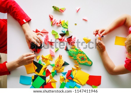 Kids Making Origami Crafts Paper Stock Photo Edit Now 1147411946