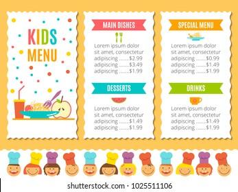 Kids Menu Images, Stock Photos & Vectors | Shutterstock