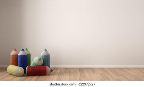 Kids minimalist white background with stuffed colored pencils on parquet flooring, child room nursery interior design, 3d illustration