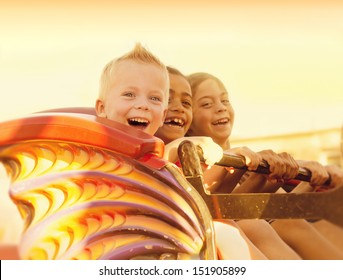 Kids on a Summertime Roller Coaster Ride