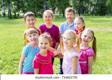 Kids outside in park