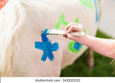 Kids are painting a white pony with unicorn colors at the little girl birthday party.