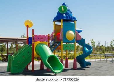 Kids' park with bright playing complex