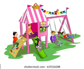 kids and pets have fun on a playground