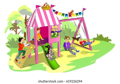 kids and pets have fun on a playground in the park