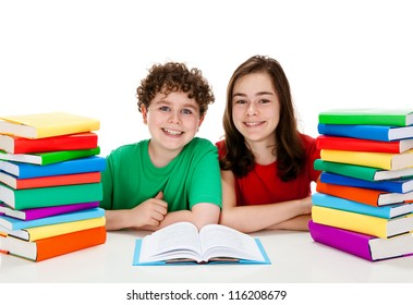 Kids and pile of books isolated on white background