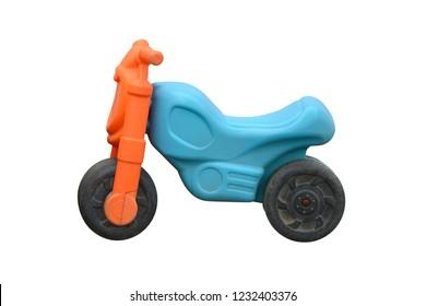 kids plastic bike isolated on white background