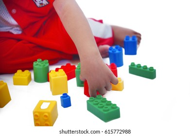 kids play block toys with white background