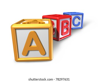 Kids play blocks representing the concept of preschool education and classroom toy isolated on white featuring three cubes with the letters a b and c.