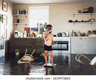kids play on the table while flooding in the kitchen. Photo and media photocombination