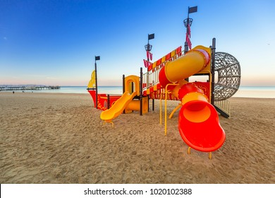 Kids playground on the beach of Baltic Sea in Gdansk, Poland