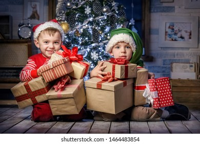 Kids playing in the attic Christmas interior