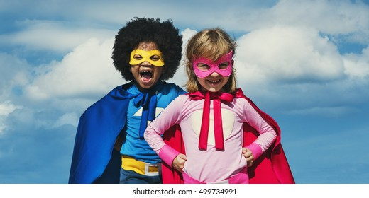 Kids Playing Fun Freedom Costume Concept