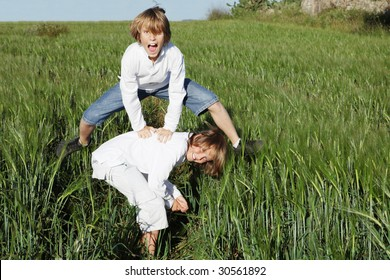 kids playing leapfrog
