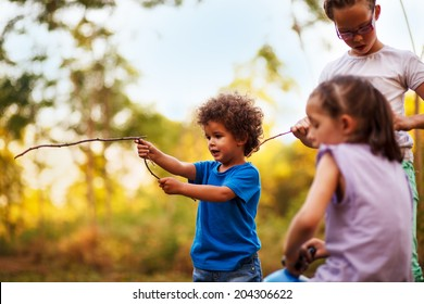 Kids are playing in nature