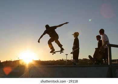 Kids playing skateboard at Maroubra Beach