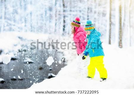 e8ec785b7b1c Kids Playing Snow Children Play Outdoors Stock Photo (Edit Now ...