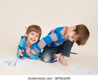 Kids playing, tickling, having fun, laughing and giggling