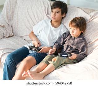 Kids playing videogame