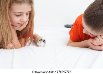 kids playing with white siberian hamster in bed