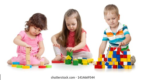 kids playing wooden blocks toy isolated on white background