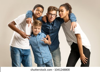 Kids posing in front of camera