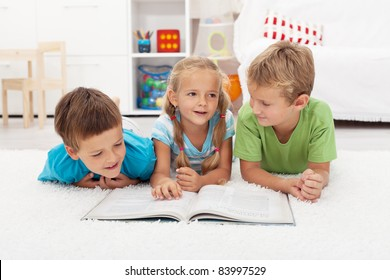 Kids practice reading and story telling in their room