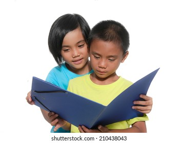 Kids reading book isolated