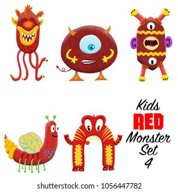 Kids Red monster set 4. Colorful and cute hand drawn monsters.  Original digital illustrations. Easy to use on a white background.