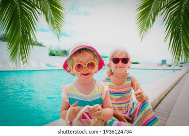 kids relax on tropical beach resort, family vacation