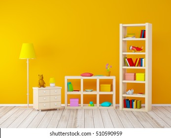 kids room with bookcases with toys at the orange wall. 3d illustration