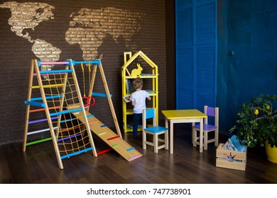 kids room interior with colorful furniture and a sport complex