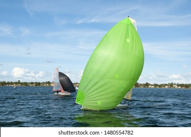 Kids sailing small sailboat head-on closeup with a fully deployed lime green spinnaker being closely followed by a competitor with a black coloured sail. Junior sailors racing on  Lake Macquarie